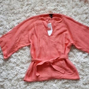 Pure &  Co hand loomed sweater salmon color belted